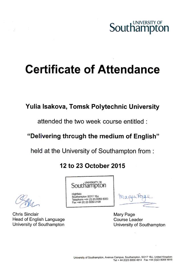 Southhampton Certificate